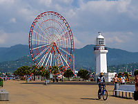 Alter Leuchtturm und Riesenrad am Hafen, Batumi, Adscharien - Atschara, Georgien, Europa<br /> giant wheel and old lighthouse, Batumi, Adjara,  Georgia, Europe