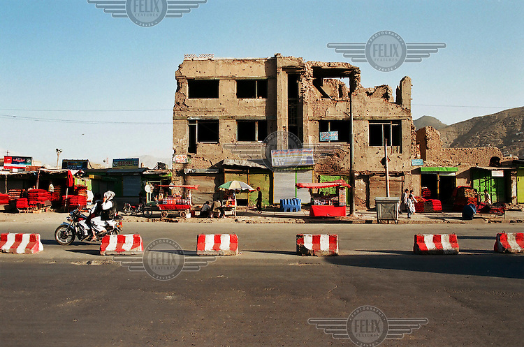 Buildings destroyed during the Afghan civil war in the centre of Kabul.