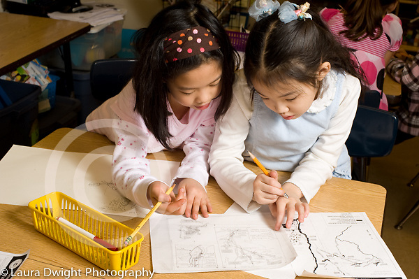 Education Elementary School Grade 2 science social studies project two girls working together horizontal