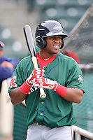Luis Alexander Basabe (19) of the Greenville Drive in a team workout on Wednesday, April 6, 2016, at Fluor Field at the West End in Greenville, South Carolina. (Tom Priddy/Four Seam Images)