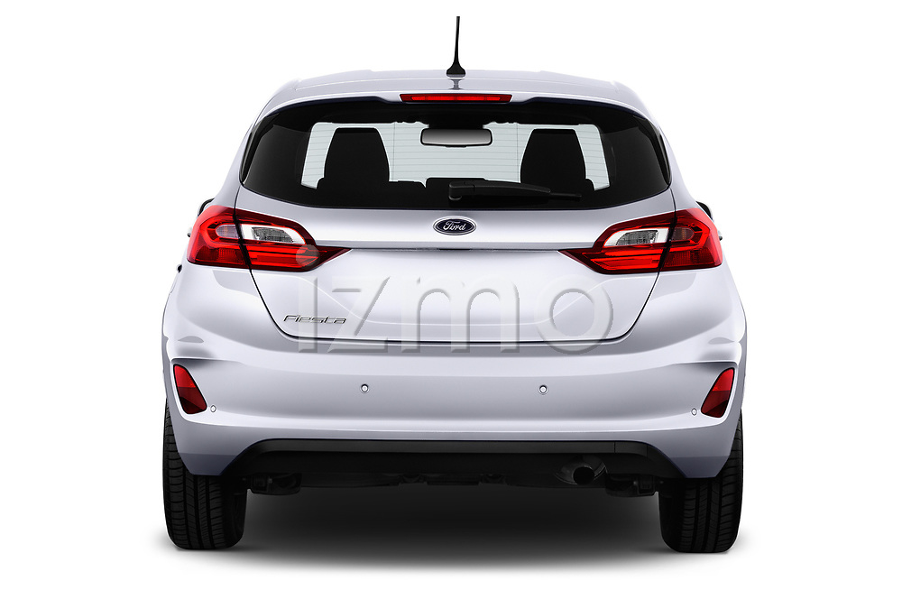 Straight rear view of 2017 Ford Fiesta Business-Class 5 Door Hatchback Rear View  stock images
