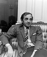 Le chanteur français Charles Aznavour<br /> , au quebec en  1969<br /> Photographe : Photo Moderne<br /> - Agence Quebec Presse
