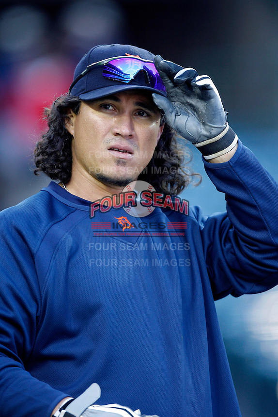 Magglio Ordonez of the Detroit Tigers during batting practice before a game against the Los Angeles Angels in a 2007 MLB season game at Angel Stadium in Anaheim, California. (Larry Goren/Four Seam Images)
