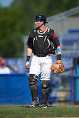 Batavia Muckdogs catcher Alex Jones (55) during a game against the Staten Island Yankees on August 28, 2016 at Dwyer Stadium in Batavia, New York.  Batavia defeated Staten Island 6-0. (Mike Janes/Four Seam Images)