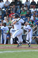 Nate Irving (18) of the Hillsboro Hops bats during a game against the Salem-Keizer Volcanoes at Ron Tonkin Field on July 26, 2015 in Hillsboro, Oregon. Hillsboro defeated Salem-Keizer, 4-3. (Larry Goren/Four Seam Images)