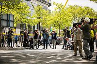 16th May 2020, Signal Iduna Park, Dortmund, Germany; Bundesliga football, Borussia Dortmund versus FC Schalke;   Media representatives filming and photographing the arrival of the FC Schalke 04 team bus at Signal Iduna Park