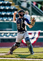 20 June 2021: Westfield Starfires catcher Matt Garbowski, from New Fairfield, CT, in action against the Vermont Lake Monsters at Centennial Field in Burlington, Vermont. The Starfires defeated the Vermont Lake Monsters 10-2 at Centennial Field, in Burlington, Vermont. Mandatory Credit: Ed Wolfstein Photo *** RAW (NEF) Image File Available ***
