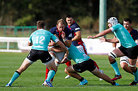 Mark Bright of London Scottish attacks during the Championship Cup match between London Scottish Football Club and Nottingham Rugby at Richmond Athletic Ground, Richmond, United Kingdom on 28 September 2019. Photo by Carlton Myrie / PRiME Media Images
