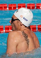 Il nuotatore francese Camille Lacourt al Trofeo Settecolli di nuoto al Foro Italico, Roma, 13 giugno 2013.<br /> French swimmer Camille Lacourt prepares to compete in the men's 50 meters backstroke in the Sevenhills swimming trophy in Rome, 13 June 2013.<br /> UPDATE IMAGES PRESS/Isabella Bonotto