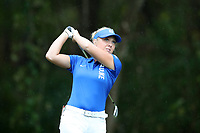 CHAPEL HILL, NC - OCTOBER 13: Erica Shepherd of Duke University tees off at UNC Finley Golf Course on October 13, 2019 in Chapel Hill, North Carolina.