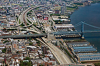 aerial photograph of the Ben Franklin Bridge, Interstate I-95, and the Delaware River waterfront, Philadelphia, Pennsylvania