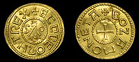 BNPS.co.uk (01202)558833<br /> Pic: DixNoonanWebb/BNPS<br /> <br /> A metal detectorist has unearthed a unique 1,200 year old Anglo-Saxon gold coin which is now tipped to sell for £200,000.<br /> <br /> The Gold Penny, or Mancus of 30 Pence, was struck on behalf of Penny of Ecgberht, King of the West Saxons, in the early 9th century.<br /> <br /> It was dug up by the unnamed finder in a field in the village of West Dean on the Wiltshire/Hampshire border in March 2020.<br /> <br /> The finder, who has been detectoring for eight years, was searching a five acre area of pasture at the bottom of a hill when he got a strong signal on his machine.