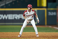 Matt Goodheart (10) of the Arkansas Razorbacks takes his lead off of first base against the Baylor Bears in game nine of the 2020 Shriners Hospitals for Children College Classic at Minute Maid Park on March 1, 2020 in Houston, Texas. The Bears defeated the Razorbacks 3-2. (Brian Westerholt/Four Seam Images)