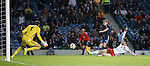 James Morrison sees his shot saved by the keeper