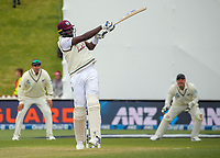 Windies' Jason Holder hits a six during day three of the second International Test Cricket match between the New Zealand Black Caps and West Indies at the Basin Reserve in Wellington, New Zealand on Sunday, 13 December 2020. Photo: Dave Lintott / lintottphoto.co.nz