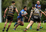 Duntaine Puna of Howick makes a break. Fox Memorial Rugby League, Northcote Tigers v Howick Hornets, Birkenhead War Memorial Park Auckland, Saturday 22nd July 2017. Photo: Simon Watts / www.bwmedia.co.nz