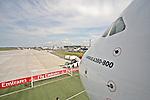 10.06.2010, ILA Internationalen Luftfahrt-Ausstellung ,Flughafen Schönefeld Berlin, GER, im Bild Airbus A380 der Emirates , Foto © nph / Hammes