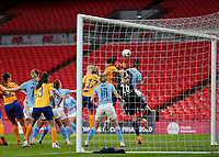 1st November 2020; Wembley Stadium, London, England; Womens FA Cup Final Football, Everton Womens versus Manchester City Womens; Valerie Gauvin of Everton Women heads the ball from an Everton Women cross to score her sides equalising goal in the 60th minute to make it 1-1