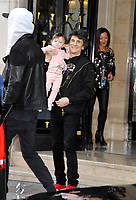 October 25 2017, PARIS FRANCE the musicians of the Rolling Stones Group leave<br /> the Georges V Hotel on Avenue Georges V.<br /> Ron Wood, the guitarist, his wife Sally humphreys, his twin daughters on the way to the U Arena Concert. # LES ROLLING STONES SORTENT DE LEUR HOTEL A PARIS