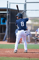 AZL Padres 1 catcher Rainier Aguilar (8) at bat during an Arizona League game against the AZL Royals at Peoria Sports Complex on July 4, 2018 in Peoria, Arizona. The AZL Royals defeated the AZL Padres 1 5-4. (Zachary Lucy/Four Seam Images)