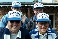 Barking fans are seen wearing club shop merchandise (hats) at an unknown venue - circa 1990 - MANDATORY CREDIT: Gavin Ellis/TGSPHOTO - Self billing applies where appropriate - Tel: 0845 094 6026