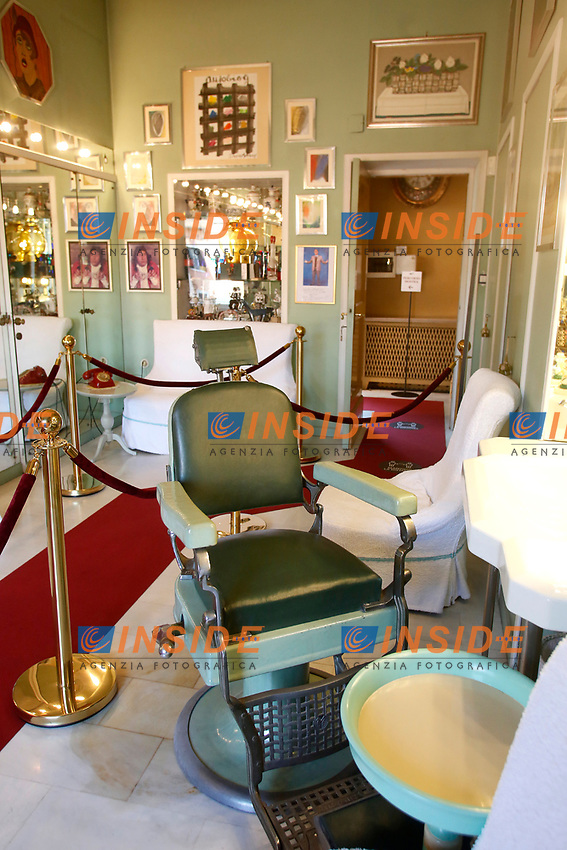The barber room during the opening of the actor Alberto Sordi''s house museum in Rome. In occasion of the centenary of his  birth, the villa in the heart of Rome, where he lived from 1959 to death, was opened to the public, becoming a house-museum. The house still contains thousand of objects belonged to the actor. In the garden two more tensile structures were added, containing stage clothes, posters of his films, photos and much more. <br /> Rome (Italy), September 15th 2020<br /> Photo Samantha Zucchi Insidefoto