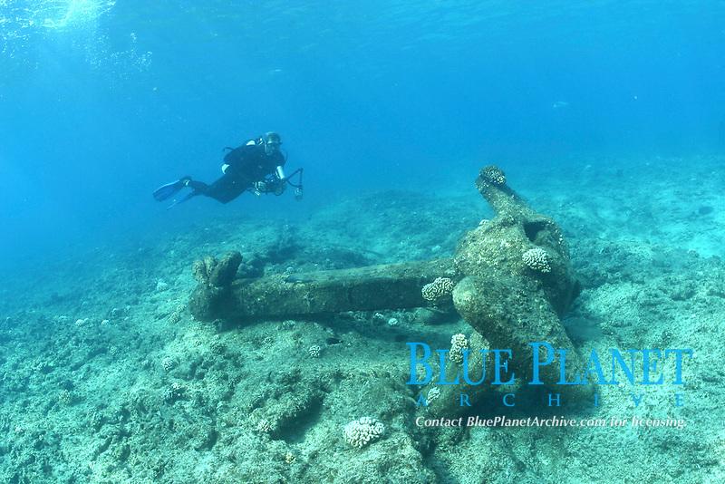 anchor of shipwreck USS Macaw, ASR-11, Sub tender, sunk in 1944, Midway atoll, Papahanaumokuakea Marine National Monument, Northwestern Hawaiian Islands, Hawaii, USA, Pacific Ocean
