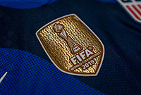ORLANDO, FL - MARCH 05: Nike jerseys sit in the locker room with the FIFA badge on them during a game between Spain and Japan at Exploria Stadium on March 05, 2020 in Orlando, Florida.