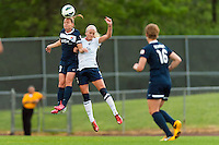 Sky Blue FC defender Christie Rampone (3) goes up for a header with Seattle Reign FC midfielder Kaylyn Kyle (6). Sky Blue FC defeated the Seattle Reign FC 2-0 during a National Women's Soccer League (NWSL) match at Yurcak Field in Piscataway, NJ, on May 11, 2013.