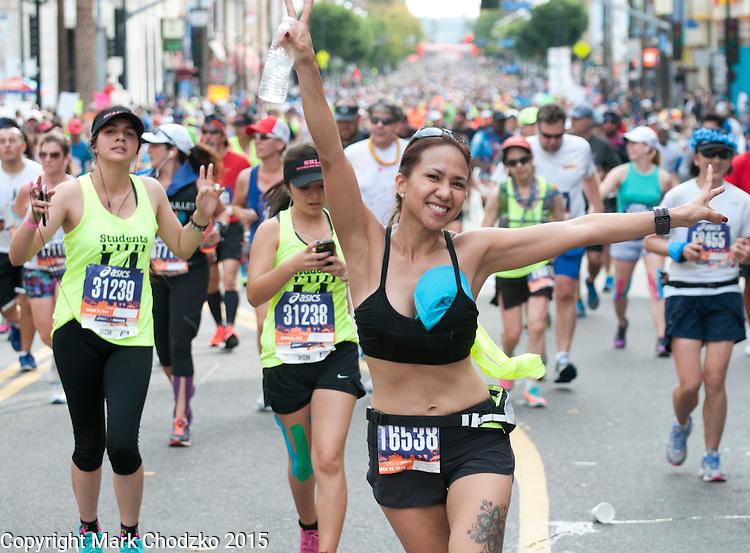 Woman shows off at the L.A. Marathon.