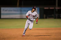 AZL Indians 2 third baseman Jonathan Lopez (15) hustles to third base during an Arizona League game against the AZL Angels at Tempe Diablo Stadium on June 30, 2018 in Tempe, Arizona. The AZL Indians 2 defeated the AZL Angels by a score of 13-8. (Zachary Lucy/Four Seam Images)