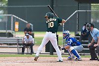 Oakland Athletics shortstop Jeremy Eierman (10) at bat in front of catcher Mario Trinci (6) during an exhibition game against Team Italy at Lew Wolff Training Complex on October 3, 2018 in Mesa, Arizona. (Zachary Lucy/Four Seam Images)