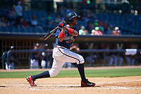 Mississippi Braves Luis Valenzuela (1) at bat during a Southern League game against the Jacksonville Jumbo Shrimp on May 5, 2019 at Trustmark Park in Pearl, Mississippi.  Mississippi defeated Jacksonville 1-0 in ten innings.  (Mike Janes/Four Seam Images)