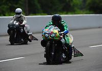 May 14, 2011; Commerce, GA, USA: NHRA pro stock motorcycle rider Shawn Gann during qualifying for the Southern Nationals at Atlanta Dragway. Mandatory Credit: Mark J. Rebilas-