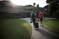 New pink jersey Simon Clarke (AUS/Orica-GreenEDGE) finally arrives at the team hotel, +1 hour after his teammates because of the obligations that come with the jersey after each finish.<br /> <br /> 2015 Giro<br /> st4: Chiavari - La Spezia (150km)