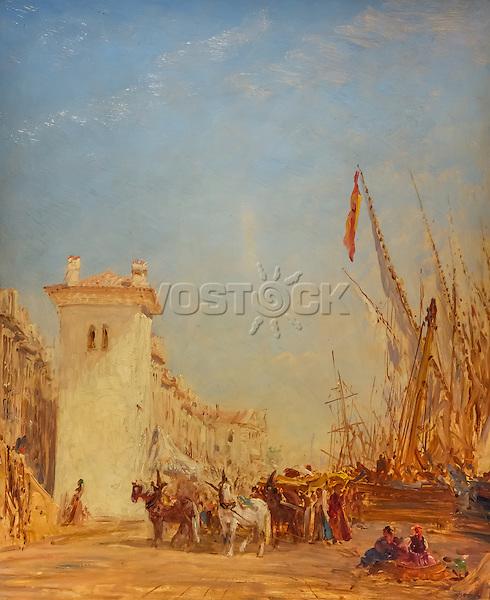 Marseille, Saint Jean Dock- Felix Ziem (1821-1911)