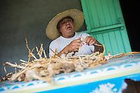 France, île de la Réunion, Parc national de La Réunion, classé Patrimoine Mondial de l'UNESCO, Cirque de CIlaos, Cilaos, Narcisse Grondin, agriculteur trie sa récolte d'ail de Cilaos //  France, Reunion island (French overseas department), Parc National de La Reunion (Reunion National Park), listed as World Heritage by UNESCO, cirque of Cilaos,  Cilaos, Narcisse Grondin , farmer sorts harvest Cilaos garlic <br /> <br /> Auto n°: 2014-102