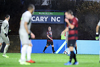 CARY, NC - DECEMBER 13: Derek Waldeck #4 of Stanford University prepares to take a corner kick during a game between Stanford and Georgetown at Sahlen's Stadium at WakeMed Soccer Park on December 13, 2019 in Cary, North Carolina.