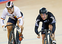 07 DEC 2014 - STRATFORD, LONDON, GBR - Robert Forstemann (GER) (left) from Germany and Sam Webster (NZL) of New Zealand race for the finish line during the Men's Individual Sprint 1/8 finals at the 2014 UCI Track Cycling World Cup in the Lee Valley Velo Park in Stratford, London, Great Britain (PHOTO COPYRIGHT © 2014 NIGEL FARROW, ALL RIGHTS RESERVED)