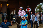 """DEL MAR, CA  AUGUST 21: #10 Astronaut, ridden by Victor Espinoza, in the post parade of the Del Mar Handicap (Grade ll) Breeders Cup """"Win and You're In"""" Turf Division on August 21, 2021 at Del Mar Thoroughbred Club in Del Mar, CA (Photo by Casey Phillips/Eclipse Sportswire/CSM)"""