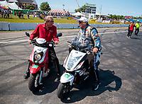 Aug 18, 2019; Brainerd, MN, USA; NHRA team owner Don Schumacher (left) with John Force during the Lucas Oil Nationals at Brainerd International Raceway. Mandatory Credit: Mark J. Rebilas-USA TODAY Sports