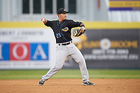 Akron RubberDucks second baseman Mark Mathias (23) warmup throw to first base during a game against the Binghamton Rumble Ponies on May 12, 2017 at NYSEG Stadium in Binghamton, New York.  Akron defeated Binghamton 5-1.  (Mike Janes/Four Seam Images)