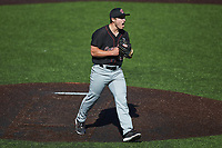 South Carolina Gamecocks relief pitcher Brett Kerry (49) reacts after getting the final out against the Vanderbilt Commodores at Hawkins Field on March 21, 2021 in Nashville, Tennessee. (Brian Westerholt/Four Seam Images)