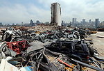 A general view shows the damaged at the port on August 4, 2021, as Lebanon marks a year since a cataclysmic explosion ravaged the capital Beirut. Photo by Haitham Moussawi