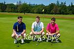 Shane Lynch, Richie McManus and David Griffin enjoyning a round in Killarney Golf club on Saturday