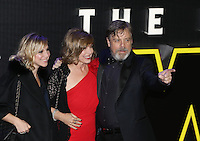 Mark Hamill with his daugher Chelsea Hamill and wife Marilou York attend the STAR WARS: 'The Force Awakens' EUROPEAN PREMIERE at Odeon, Empire & Vue Cinemas, Leicester Square, England on 16 December 2015. Photo by David Horn / PRiME Media Images