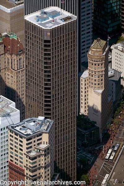 aerial photograph McKesson Plaza, the Hobart Building and Market Street, San Francisco, California