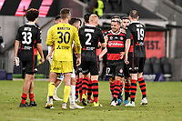 19th March 2021; Bankwest Stadium, Parramatta, New South Wales, Australia; A League Football, Western Sydney Wanderers versus Perth Glory; Nicolai Muller of Western Sydney Wanderers celebrates with teammates winning the game 3-0