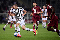Giorgio Chiellini of Juventus FC in action during the Serie A 2021/2022 football match between Torino FC and Juventus FC at Stadio Olimpico Grande Torino in Turin (Italy), October 2nd, 2021. Photo Federico Tardito / Insidefoto