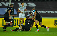 8th October 2021;  Swansea.com Stadium, Swansea, Wales; United Rugby Championship, Ospreys versus Sharks; Marnus Potgieter of Cell C Sharks is tackled by Owen Watkin and Jac Morgan of Ospreys